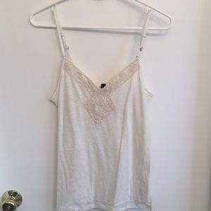 Cream American Eagle embroidered tank top